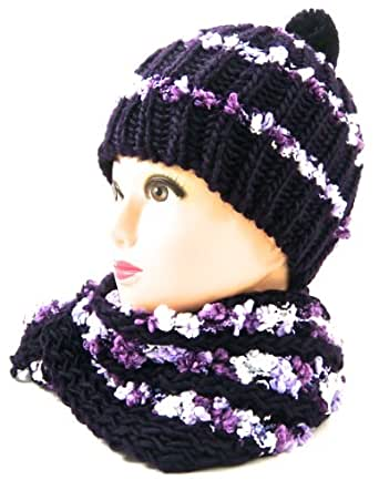 Ladies Bobble Hat and Scarf Set -Ruffly Stripe Knotted Knit - Warm Soft Stylish-Ideal Gift - Purple