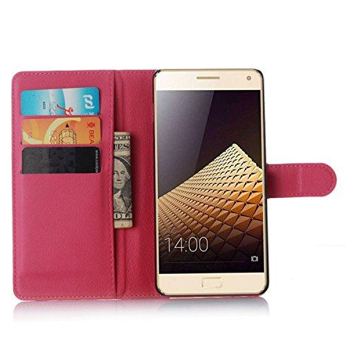 Tasche für Lenovo Vibe P1 Hülle, Ycloud PU Ledertasche Flip Cover Wallet Case Handyhülle mit Stand Function Credit Card Slots Bookstyle Purse Design Rose Red