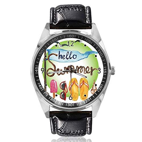 Muschel-Seil Flip Flops Sonnenbrille Ice Cream Wrist Watch Custom Design Analog Quarz Uhren Silber Zifferblatt Klassische Lederband Damen Herren Armbanduhr