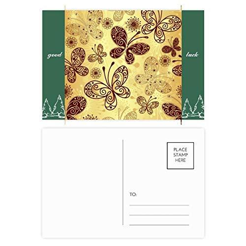 DIYthinker Fond d'écran papillon jaune Bonne chance cartes postales Carte postale Set Les 20pcs latérales 5,7 pouces x 3,8 pouces MultiColor 5.7 pouces x 3.8 pouces Multicolore