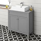 800 mm Grey Countertop Vanity Unit Basin Sink Floor Standing Bathroom Furniture Floorstanding