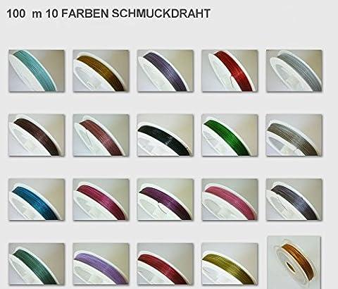 Stahl draht Mehrfarbig 10 Farben 10m Nylon Bezogen 0,45mm BASTELN Mix set C82
