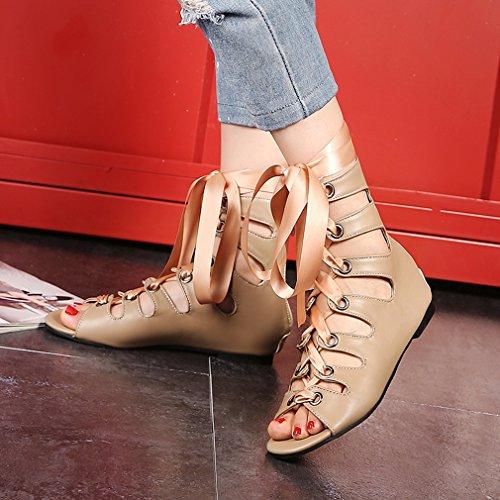 38c2b40726743d ... YE Damen Flache Sommer Stiefel mit Löchern Sandalen zum Schnüren  Reißverschluss Bequem Schuhe Aprikose