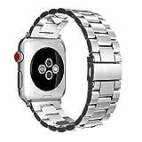 Fintie Armband für Apple Watch 44mm 42mm Series 4/3/2/1 - Edelstahl Metall Ersatz Band Uhrenarmband Replacement mit Doppelt verriegender Faltschließe, Silber