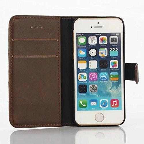 inShang Coque pour iPhone SE Cell Phone Housse de Protection Etui pour iPhone SE, SUPER PU Cuir case de premiere qualite Crazy Horse pattern 1 coffee