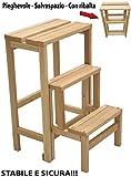 Legno Line Tritthocker, 3 Stufen, zusammenklappbar, aus Naturholz oder Walnuss (Naturale)