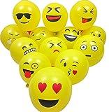 Aookey Emoji Luftballon, 100Pcs Smiley Gesicht Luftballon, Latexballons für Kinder Geburtstagsfeier Supplies Bevorzugungen, Neuheit Hochzeit Veranstaltungen Dekoration Zubehör, Gelb Test