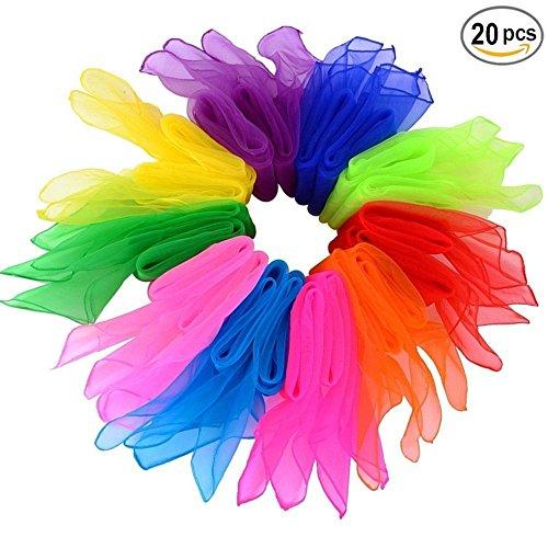 byou Tanz Tücher,Seidentücher Bunt 20 stück Mehrfarbige Quadratisch Tanzen Schal für Kindergarten Kindershow Bauchtanz 24*24inch 10 Farben