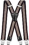 Decalen Hosenträger für Herren Breit 4 cm mit sehr Starken 4 Metall Clip Lang Einheitsgröße für Männer und Damen Einstellbar und Elastisch X Style (Braun Beige)