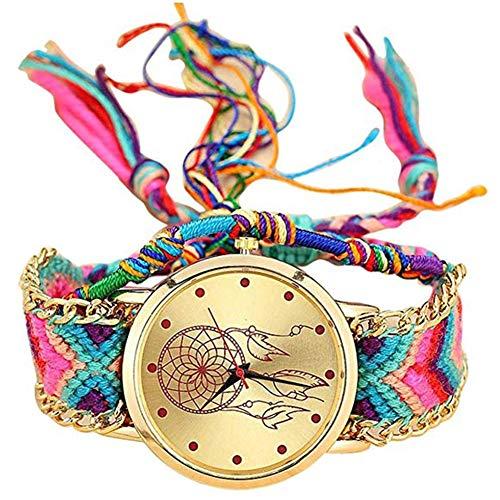 Gysad Reloj de Pulsera Estilo Hippie Reloj de Cuarzo Mujer Patrón atrapasueños Reloj de Pulsera Mujer Diseño de tejiendo Reloj de Pulsera Mujer