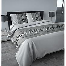 3piezas ropa de cama franela Flanel 200x 220cm Good Night gris blanco