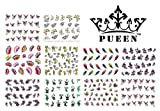 PUEEN 3D Nail Art Sticker Collection Set E1 - 10 Packs in Different Designs (Over 240 Stickers) 3D Glitter Sparkling Feathers Roses Cats Leopard Print