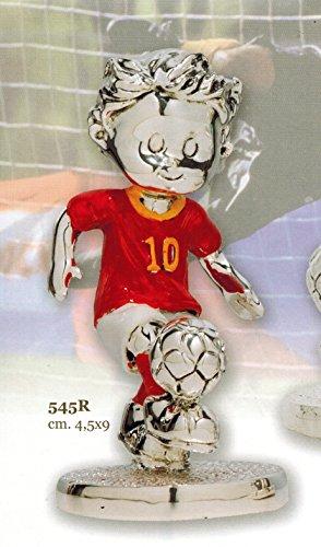 Statuina bambino giocatore calcio squadra roma cm 4,5x9 smaltata laminato argento made in italy