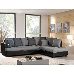 Bora canapé simili et tissu 5 places - 260x200x85 cm - gris et noir