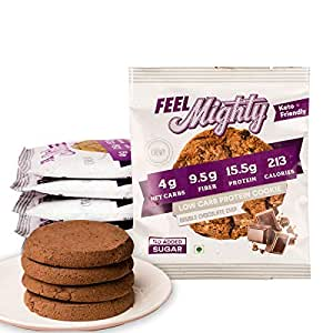 Feel Mighty Low Carb Protein Cookies-Sugar Free, Keto Friendly, Gluten Free & Low Calorie Snacks -Pack of 5 Belgian Double Chocolate Flavoured Cookies
