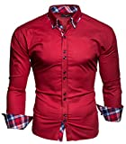 KAYHAN Homme Chemise Slim Fit Repassage facile, Manches Longues Modell - rouge - Taille M