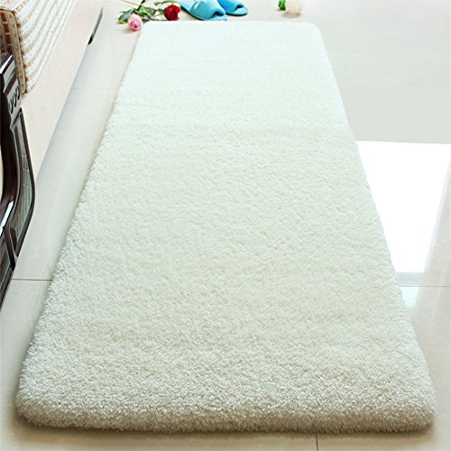 befitery Shaggy Alfombras Carpet Modern Alfombra para suelo de salón comedor o gästezimmer con varios color y Size, Elfenbein-weiß, 50 * 120cm