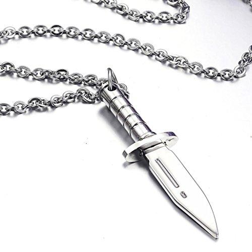 Jiayiqi Punk Mini Couteau En Acier Inoxydable Collier Pendentif Pour Hommes Garçons No.2