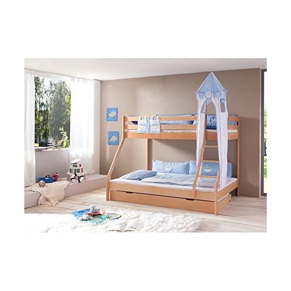 Relita Mike Bunk Bed with Drawers and 2Pieces TEXTILS Young White/Hellbl, Mass. Beech Natural Finish. Relita Width approx. in cm & # x202°F: 155 & # x202°F; Length: Approx. in cm & # x202°F: 210 Height approx. in cm & # x202°F;: 160 1