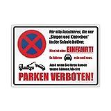 Hier ist eine Einfahrt! Parken verboten Namen tanzen Parkplatzschild Aufkleber - 42 x 30cm