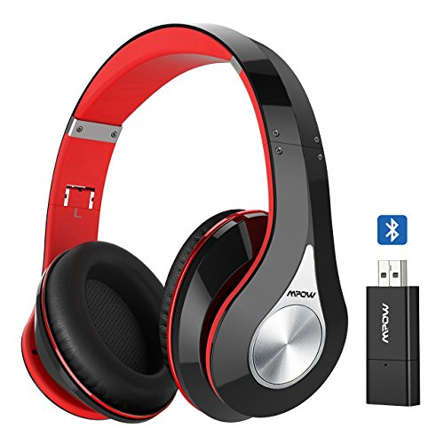 Mpow 059 Bluetooth Kopfhörer mit Bluetooth Sender, Over Ear Hi-Fi Stereo Wireless Headset, faltbare Bluetooth Headset mit Mikrofon, weichen Speicher-Protein-Ohrenschützer und Tragetasche für PC / Handys / TV.
