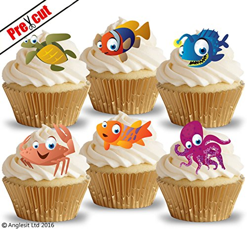 vorgeschnittenen niedliche Ocean Tiere essbarem Reispapier/Waffel Papier Cupcake Kuchen Dessert Topper Geburtstag Party Dekorationen (Fisch Kuchen Toppers)
