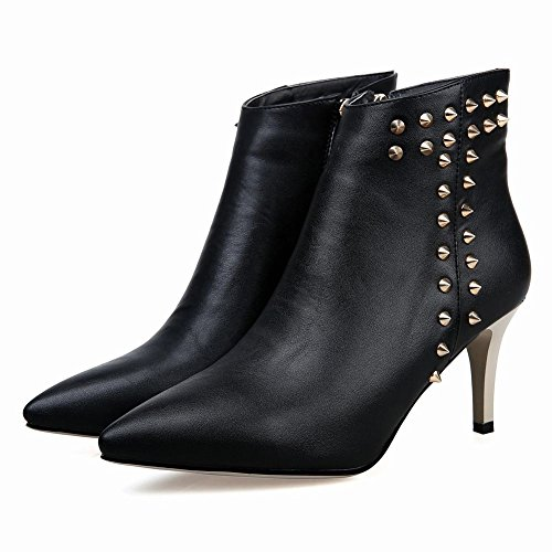 MissSaSa Donna Scarpe col Tacco Cono Alto Elegnate e Moda Nero