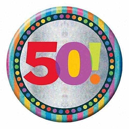 Amscan Holog Buon 50 ° compleanno Lge partito distintivo accessori
