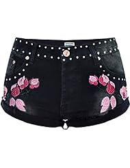 Wgwioo Femmes 3D Broderie Denim Shorts Classique Cravate Tassel Loose Pantalon Rivet Punk Jeans