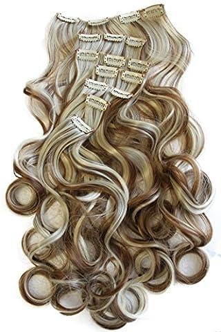 PRETTYSHOP XXL 8 pcs full Head Set Clip In Hair Extensions Hairpiece wavy Heat-Resisting 24