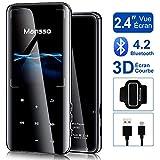MANSSO Lettore MP3 Bluetooth 4.2,8GB Pulsante Tocco Effetto Specchio con schermo TFT da 2,4 pollici,Lettore Musicale portatile senza perdita con radio FM E-Book Registratore vocale Supporta fino 128GB