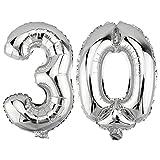 DekoRex® 30 als Folienballon Luftballon Zahlenballon Jahrestag Geburtstag in Silber 40cm hoch