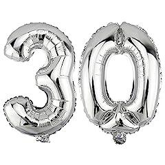 Idea Regalo - DekoRex Palloncino stagnola nomero 30 Argento 40cm per l'aria Compleanno Decorazione