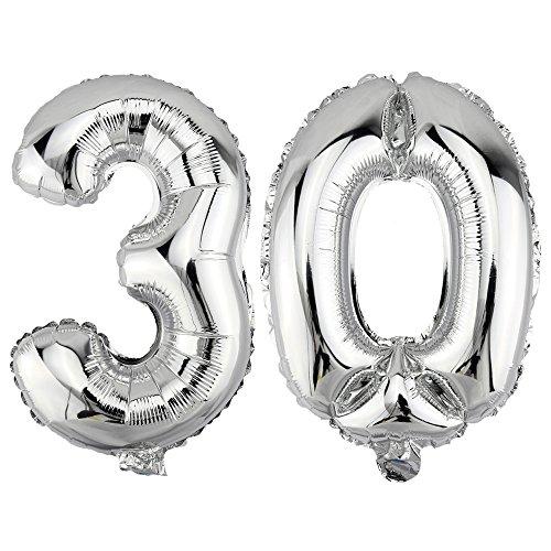 DekoRex 30 Globo en argentado 80cm de Alto decoración cumpleaños para Aire número