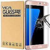 Galaxy S7 Edge Protector de Pantalla, Yica Samsung Galaxy S7 Edge Cristal Vidrio Templado Premium 3D[Cobertura Completa] [Anti-Scratch] [Burbuja Libre] Touch Protector de Pantalla de Ultra HD Claro para el Galaxy S7 Edge-Oro rosa