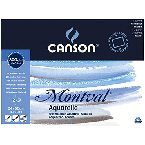 Canson 200006544 Montval Aquarellpapier, 24 x 32 cm, naturweiß