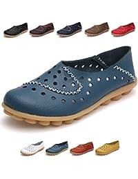 Hishoes Mujer Mocasines de Cuero Zapatos Planos de Deslizamiento Mocasines de Conducción Mocasín Zapatillas Antideslizante Barco
