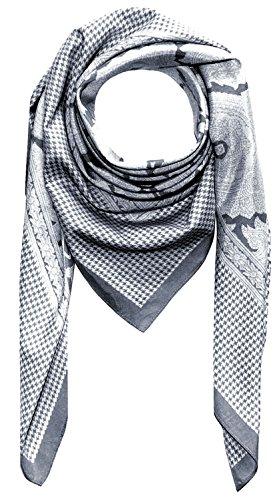 LORENZO CANA High End quadratisches XL Luxus Tuch Baumwolle kombiniert mit Seide 110 x 110 cm Naturfaser Marken Schaltuch Halstuch Hahnentritt Paisley (Seide Hahnentritt-schal Aus)