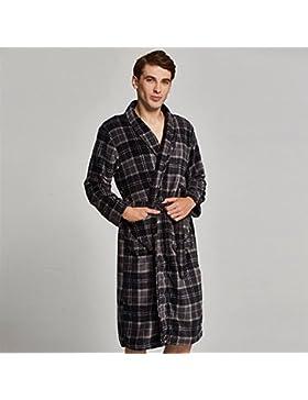 SUxian Gran Albornoz de Invierno de los Hombres Coral Fleece Long-Type Warm Albornoz Enrejado camisón Pijama Bata