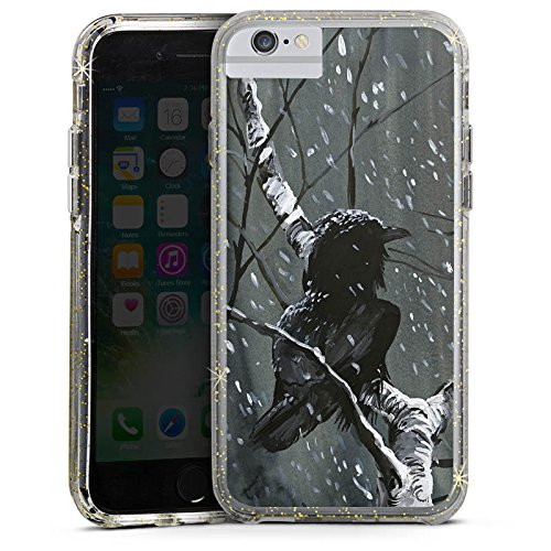 Apple iPhone 7 Bumper Hülle Bumper Case Glitzer Hülle Raven Rabe Forest Bumper Case Glitzer gold