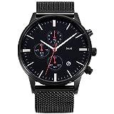 BOLISI Herren Chronograph Japanisches Quarzwerk Armbanduhren mit Edelstahl Armband F8225