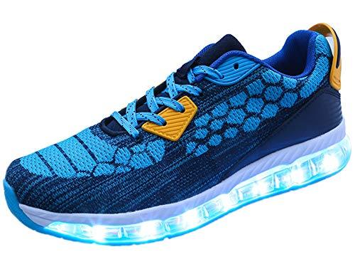 Mr.Ang LED Leucht Schuhe Herren Daune USB Lights Sneakers Licht Sport Schuhe Atmungsaktiv Fläche Turnschuhe