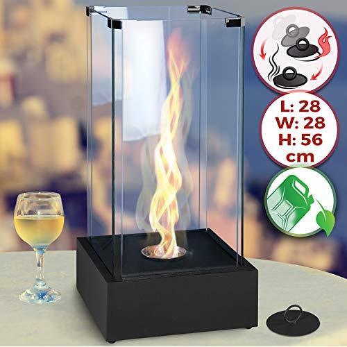Cheminée éthanol De Table Mobile 28 X 28 X 56 Cm En Acier Inoxydable 4 Panneaux En Verre Cheminée à Poser Au Sol Poêle éthanol