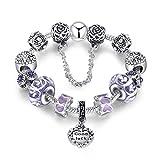 Lila Charm Armband mit Kristall Bead, Silber Vergoldet Geburtstagsgeschenk von Shysnow