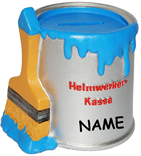 """Spardose - Farbtopf mit Pinsel - """" Heimwerker Kasse """" - incl. Name - blau - stabile Sparbüchse aus Kunstharz / Polyresin - Kinderspardose - Sparschwein - für Kinder & Erwachsene / lustig witzig - Umbau / Renovierung / Umzug - Hausbau - Heimwerkerkasse - Streichen - Handwerker - Tapezieren / Einrichten / Renovieren - Reisekasse Urlaub Reisen - Maler - Geldgeschenk - Farbe - Urlaubskasse / Wohnung - Renovierungskasse - Geschenk Werkzeug - Zimmer - Haus - Geld Hochzeit - Hausmeister"""