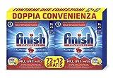 Finish All in 1 Max Pastiglie Lavastoviglie, Limone, 2 Confezioni con 72+12 Tabs