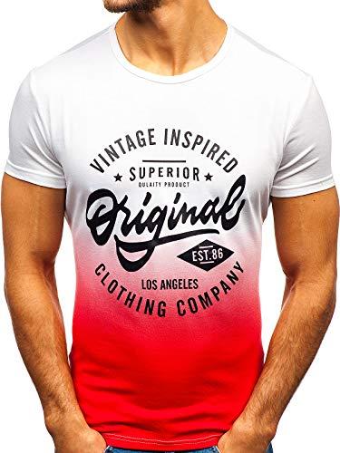 BOLF Herren T-Shirt mit Rundhalsausschnitt Print Aufdruck Täglicher Stil J.Style KY38 Weiß(Rot) S [3C3] | 05902646979595