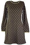 GURU-SHOP, Mini Vestido, Vestido Boho Flor de la Vida Orgánico, Marrón, Algodón, Tamaño:S (36), Vestidos Cortos