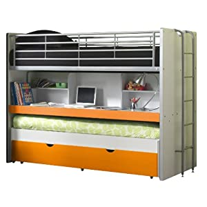 Vipack BOHS8011 Bunk Beds Bonny, 207 x 116 x 98 cm, Mattress 90 x 200 cm, 11, White/Orange Happybeds Height: 82 cm, Width: 80 cm, Depth: 40 cm; Modern mirrored bedroom chest of drawers Elegant and ergonomic crystal style handles 3 deep storage drawers perfect for clothes, towels or bedding 7
