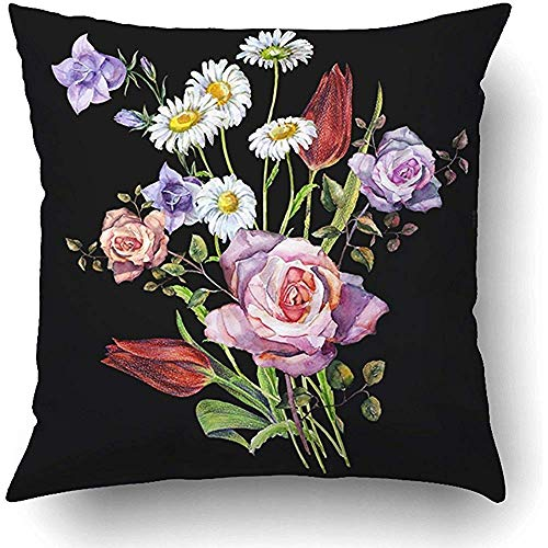 FPDecor Dekorativ Kissenbezug, Pink Vintage Watercolor Bouquet Flowers On Black White Acrylic Beautiful Bell 18 x 18 Inch Square with Hidden Zipper Polyester Home Sofa Cushion Decorative Pillowcase